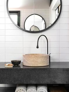 Stone Sink - Natural Countertops - Bathroom Design - Black White - Mosaic Tile