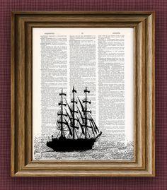 Tallship boat print over dictionary page book art print. $7.99, via Etsy.