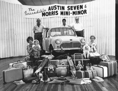 August 1959: One of the first Mini advertising campaigns - an Austin Seven Morris Mini-Minor car on a podium with the amount of luggage it apparently could hold