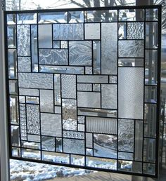 Clear Textures Geometric Abstract Beveled Stained Glass Window Panel
