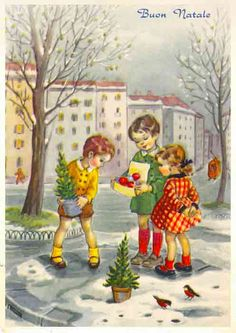 Foto del Giorno: Nostri Piccoli Alberi di Natale - Vintage Italian Christmas Card #olditaly #vintagechristmas #italianchristmas #vintagechristmasitaly #christmasinitaly