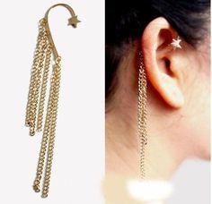 Price comes with TWO PAIRS! This trendy and chic gold ear cuff is adorned with rows of tiered gold chains that dangle from the back of the ear; a gold star peeks out at the top of the ear to top off the look. Super hot trend setting piece! :)  Visit the store! http://stores.ebay.com/triedandtrendy/