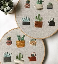 A collection of 6 potted cacti & succulents are hand-stitched on natural onasburg fabric, set in a 9 embroidery hoop. These plants and pots are customizable at no extra charge, or you may choose one to be designed for you. Please see my Instagram account or scroll through the photos on