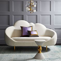 This cloud-shaped sofa is an absolute dream. Ether Settee Sofa by #JonathanAdler. #statementsofa #designerfurniture