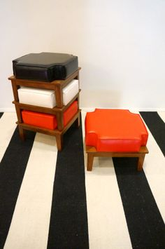 MID CENTURY MODERN 4 Vintage Stacking Stools by fabulousmess