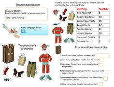 Data handling activity - extracting data from tables with 2 digit numbers, using the items of clothing in Traction Man's wardrobe :o) English Activities, Work Activities, Educational Activities, Primary Resources, Teaching Resources, Teaching Ideas, Traction Man, Year 1 Maths, Superhero Classroom