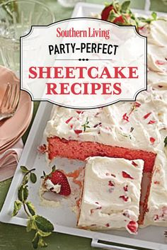 Party-Perfect Sheet Cake Recipes | Use these tasty sheet cake recipes to make festive snack cakes for your next party. They require a little prep and decorating but are oh-so-good! Köstliche Desserts, Delicious Desserts, Dessert Recipes, Yummy Food, Party Recipes, Frosting Recipes, Health Desserts, Food Cakes, Snack Cakes