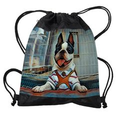 Smiling Boston Terrier Drawstring Bag. This smiling Boston Terrier is adorable and would make a unique gift for any dog lover.