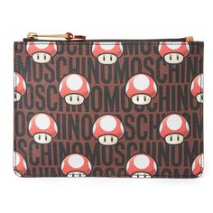 Moschino Mushroom Zip Pouch ($195) ❤ liked on Polyvore featuring bags, handbags, clutches, black multi, faux leather purse, vegan purses, vegan leather purse, pouch purse and moschino