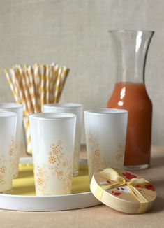 Stenciled glasses created with Martha Stewart paint and stencils. #crafts #glass #Martha Stewart