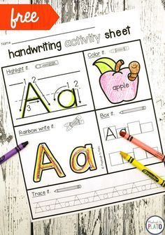 Free Handwriting Activity Pages! A great way to help kids work on letter recognition, beginning sounds and letter formation! #handwritingfreebies #kindergarten #preschool #PlaydoughtoPlato