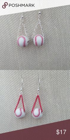 Handmade Ceramic Baseball Earrings Sterling Wires I designed these cute ceramic 12.5mm baseball beads which have hand-painted red stitching. They are attached to a silver, red, royal blue, black or brown plated  link chain. The earrings are dangling from sterling silver ear wires with a length of 1.5 inches.  They can be created longer for no extra charge.  Please indicate which color link you prefer when purchasing.  Great gift for baseball Moms or fans. Handmade Jewelry Earrings