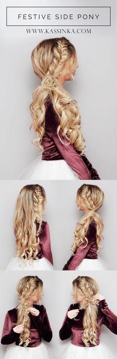 » Festive Side Ponytail Hair TutorialKassinka
