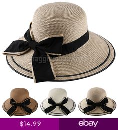 3200948c08e Women Roll-Up Bucket Bowknot Straw Hat Floppy Wide Brim Summer Beach Derby  Cap