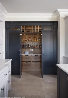 Walk in pantry! Growing trend: Houzz UK, an online platform for home renovation and design, analysed its users' activity and found that pantry cupboards have risen to become one of the most 'saved' photo categories on the site Kitchen Pantry Design, Kitchen Cupboards, Kitchen Interior, New Kitchen, Kitchen Decor, Kitchen Pantry Cupboard, Inset Cabinets, Soapstone Kitchen, Minimal Kitchen