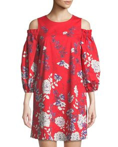 d2eff899c729 Shop Cold-Shoulder Floral Poplin Mini Dress from Maggy London at Neiman  Marcus Last Call, where you'll save as much as on designer fashions.