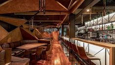 World Architecture Community News - Hitzig Militello Arquitectos creates abstract landscape in the interior of Mamba Bar in Buenos Aires Revit Architecture, Interior Architecture, Interior Design, Green Landscape, Abstract Landscape, Versailles, Bar Design Awards, Painted Boards, Ground Floor
