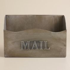 I got this for our new place!  Inspired by vintage letter holders, our exclusive St. Laurent Mail Holder exudes a chic timeworn appeal. Ideal for organizing mail and files, it brings a Parisian touch to the entryway or home office with its stamped design and zinc finish.