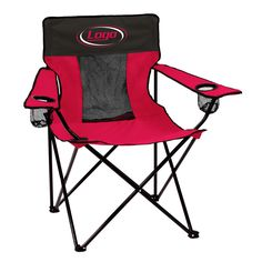 "Seating area measures 22 x 34.5"" x 34.5"" with double layered 600 denier polyester. Features two adjustable arm rests with cup holders on each arm. Mesh material in middle allows for breathability. Log"