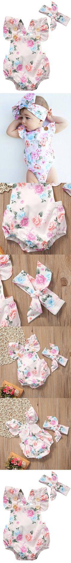 Baby Girls' Full Flower Print Buttons Ruffles Romper Bodysuit with Headband (100(18-24M), White)