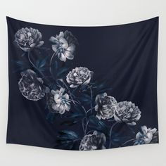 dark paeonias blue floral pattern Wall Tapestry