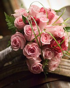 Bridesmaid Bouquet  -Light pink Peonies  -Champagne Roses