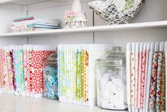 Brilliant Ideas For Organizing Your Fabric. #Quilting #Crafting #Fabric #Organizing