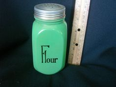 Flour Shaker Herbs Crafts Gifts: 6 Hocking Glass Canisters 1940's