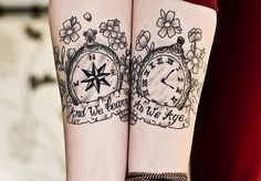 Compass tattoos are not common, but they can hold symbolic value. Learn about compass tattoos, compass tattoo designs, compass tattoo meanings, and compass tattoo ideas. Compass tattoo pictures also. Cute Couple Tattoos, Love Tattoos, Beautiful Tattoos, Awesome Tattoos, Couples Tattoo Designs, Tattoo Designs For Women, Tattoos For Women, Female Tattoos, Tattoos Verse
