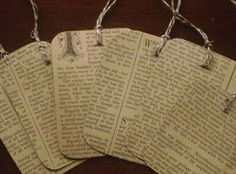 Make gift tags from the pages, or buy them already made.