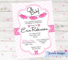 Tutu Baby Shower Invitation Printable Tutu by JessicaSawyerDesign Tutu Invitations, Printable Baby Shower Invitations, First Birthday Parties, First Birthdays, Erin Robinson, Ballerina Baby Showers, Tutu Party, Baby Shower Cards, Balloons