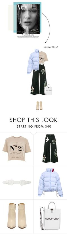 """""""Flare Up: Wide-Leg Jeans"""" by katu11 ❤ liked on Polyvore featuring River Island, Alexander McQueen, B-Low the Belt, Off-White, denimtrend and widelegjeans"""