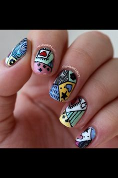 Awesome nailart... Maybe an alice in wonderland theme?