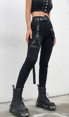 Punk Sweatpants with Leg Harness Punk Sweatpants with Leg Harness -You can find Alternative fashion and more on our website.Punk Sweatpants with Leg Har. Edgy Outfits, Teen Fashion Outfits, Grunge Outfits, Mode Outfits, Retro Outfits, Cute Casual Outfits, Goth Girl Outfits, Fashion Dresses, Egirl Fashion