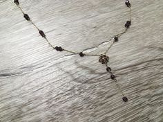 Vintage Gold Chain Necklace with Garnet Gemstone Beads Long
