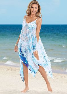 Glide on the beach in this colorful cover-up! Venus braided tie strap dress.