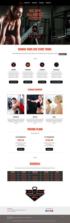 Logo and website design concept for fitness business by designer CustomDesign. – Jimdo template: Miami – Visit their full site here: http://fitnesspulse.jimdo.com/
