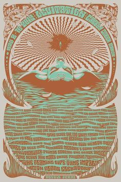 The official Levitation 2015 weekend poster, designed by Simon Berndt in collaboration with Rob Fitzpatrick, commemorates the fest and the bands who played on May 2015 at Carson Creek Ranch in Austin, Texas. Psychedelic Rock, Psychedelic Posters, Witchy Wallpaper, Band Posters, Music Posters, Music Artwork, Portraits, Concert Posters, Rock Art