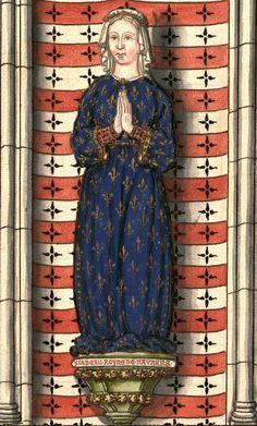 """Isabeau de France, reine de Navarre, fille de saint Louis, †1271. Dessin d'une statue de l'Eglise Saint-Louis de Poissy (Gaignières 139). -- «…4e des six enfans du Roy St-Louis. """"Ysabeau Royne de Navarre"""". Elle fut mariée à Thibaut Roy de Navarre & mourut l'an 1271.»"""
