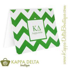 Kappa Delta Boutique Green & White Chevron Note Cards