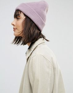 b3ab2fd0861 Get this Asos s winter hat now! Click for more details. Worldwide shipping. ASOS  Boyfriend Knit Beanie With Double Turn Up - Purple  Hat by ASOS Collection