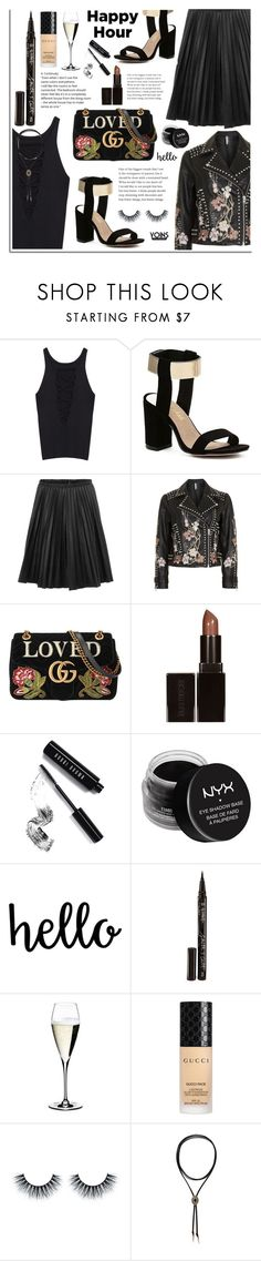 """Bottoms Up: Happy Hour"" by dora04 ❤ liked on Polyvore featuring Topshop, Gucci, Laura Mercier, Bobbi Brown Cosmetics, NYX, Smith & Cult, Riedel, happyhour, yoins and yoinscollection"