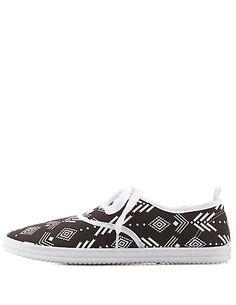 Tribal Print Canvas Sneakers: Charlotte Russe #CRshoecloset #sneakers