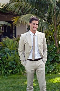 I like this outfit for the groom/groomsmen. It's all about fitted pants with soft tones.