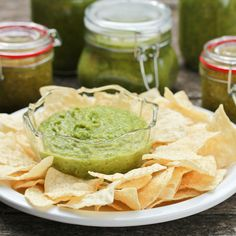 Roasted Tomatillo & Avocado Salsa...had this at a restaurant and it is delicious.