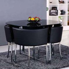 Conjunto de Mesa com 4 Cadeiras 150336 Preto