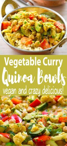 These delicious vegan Vegetable Curry Quinoa Bowls are a fantastic way to work a healthy dose of vegetables and protein into your day! 240 calories and 5 Weight Watchers SP | Vegan | Vegetarian | Gluten Free | Cauliflower | Zucchini | Chickpeas | Coconut Milk | Plant Based | Indian #quinoarecipes #curryrecipes #veganrecipes #glutenfree #plantbased #vegetablecurry #smartpoints #wwrecipes