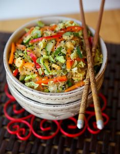 Inside Out Chinese Spring Roll Salad.  Love this unique salad recipe!