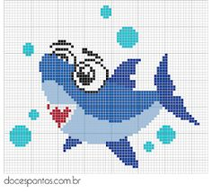 Small Cross Stitch, Cross Stitch Animals, Cross Stitch Charts, Cross Stitch Embroidery, Cross Stitch Patterns, Quilt Patterns, Knitting Patterns Boys, Knitting Charts, Baby Hai