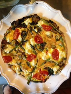 Kale, heirloom tomatoes, and goat cheese frittata